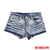 BOBSON 女款塗刷銀蔥牛仔短褲(204-58)