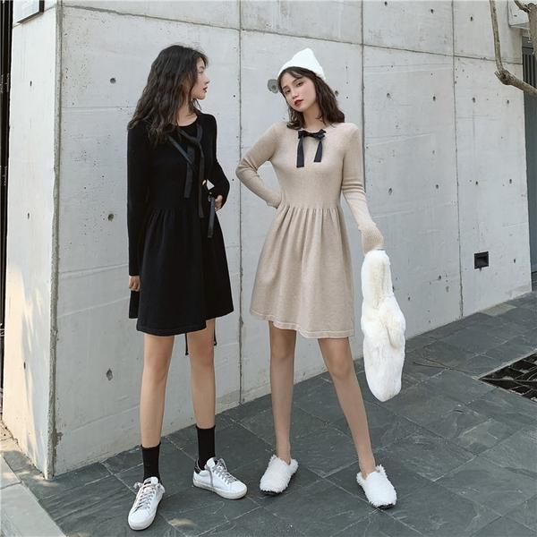 出清388 韓國風名媛優雅針織修身綁帶收腰長袖洋裝