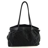 【奢華時尚】Ferragamo 黑色印花帆布牛皮肩背T型包(八八成新)#25003