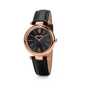 【Folli Follie】Cyclos都會時尚羅馬真皮腕錶-質感黑/WF16R029SPK_BK/台灣總代理公司貨享兩年保固