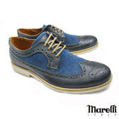 【marelli】英倫風拼接雕花鞋 深藍 (30190-LBU)