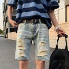 網紅破洞牛仔短褲男潮牌痞帥炸街褲子寬松直筒五分褲夏季休閑中褲