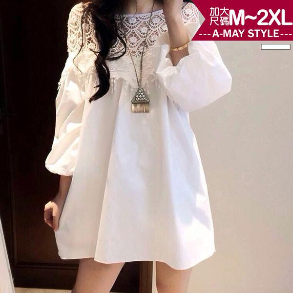 加大碼-氣質蕾絲拼接連身裙(M-2XL)