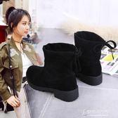 復古馬丁靴女秋冬韓國百搭時尚女士絨面單靴女款中跟短靴 【東京衣秀】