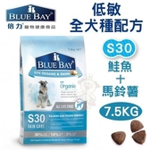 *KING WANG*倍力BLUEBAY《低敏全犬種配方-S30鮭魚+馬鈴薯》7.5KG 犬飼料