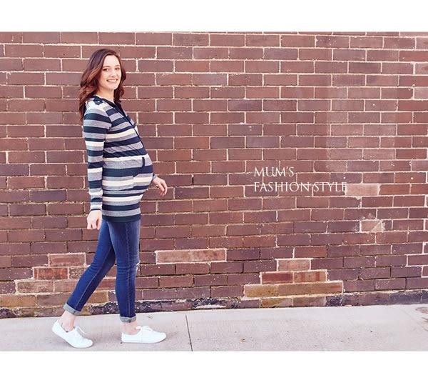 【mamaway媽媽餵】經典款橫紋連帽長版孕哺上衣(共2色)  孕婦裝 哺乳衣