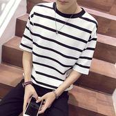 夏季寬鬆條紋7七分袖 t恤男士短袖韓版5五分袖潮流半袖學生打底衫