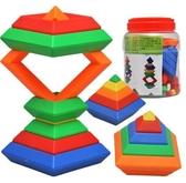 疊疊樂 彩虹圈塔疊疊樂玩具疊疊杯兒童套杯益智轉轉塔堆堆樂套疊3-4-6歲  免運快速出貨