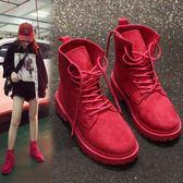 機車繫帶馬丁靴女復古英倫風秋冬短靴學生正韓版百搭平底 街頭布衣