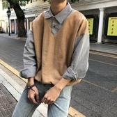 長袖 假兩件毛衣男秋冬裝襯衫領bf韓版chic上衣學院學生針織衫 小天後