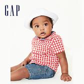 Gap 嬰兒 時尚格紋翻領短袖襯衫 577223-正紅色