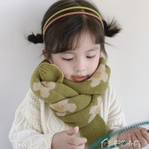 兒童圍巾韓國風花朵兒童針織圍巾脖套秋冬天百搭保暖男女寶寶毛線圍脖 多色小屋