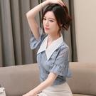 短袖襯衫 夏裝新款洋氣襯衫女韓版時尚蕾絲打底衫娃娃領喇叭袖上衣小衫N175-E.1號公館