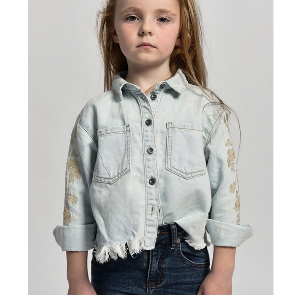 ONETEASPOON 童裝 CROPPED SHIR 襯衫-(藍)