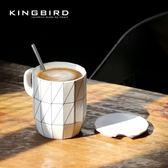 ins北歐早餐杯子創意簡約咖啡水杯帶蓋勺