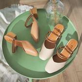 包頭涼鞋拖鞋兩穿女仙女風ins潮2019新款學生百搭中跟粗跟穆勒鞋【博雅生活館】