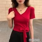 低胸T恤夏季套裝女新款chic性感V領綁帶短袖T恤 舒適高腰顯瘦休閒褲 快速出貨