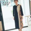 Queen Shop【01084764】點點拼接格紋色塊抽繩洋裝*現+預*