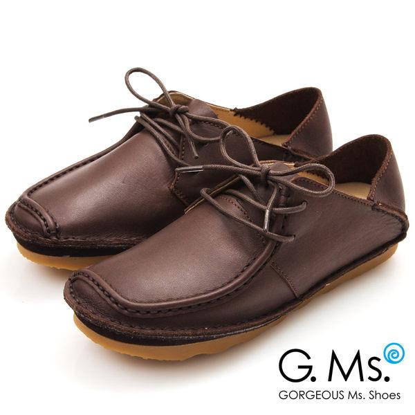 G.Ms. MIT系列-牛皮兩穿踩腳綁帶懶人休閒鞋-咖啡