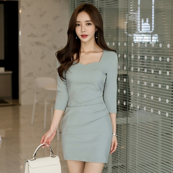 OL洋裝 連身裙春裝女韓版氣質方領小香風修身褶皺七分袖包臀裙  店慶降價