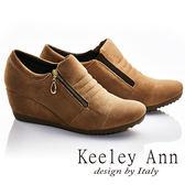 ★2016秋冬★Keeley Ann街頭漫步~縫線造型全真皮楔形休閒踝靴(棕色)