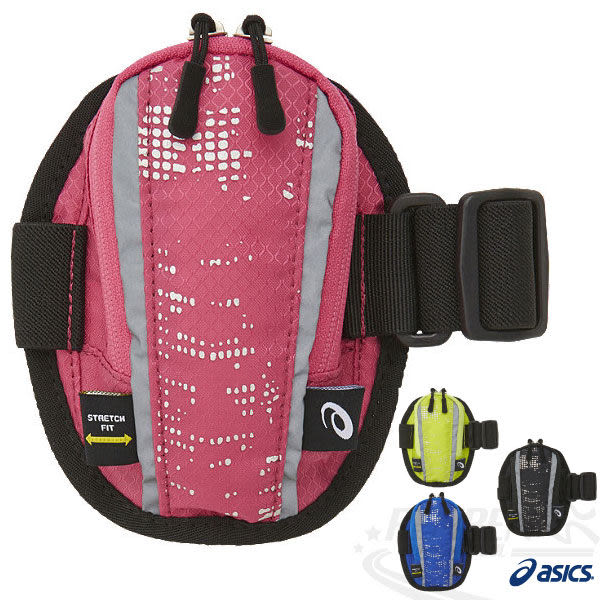 ASICS亞瑟士 反光印花手臂袋(粉紅點點) 手臂包 手機臂套 慢跑單車皆適用 2015新品