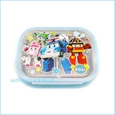 asdfkitty可愛家☆POLI救援小英雄 波力藍色樂扣型防燙有蓋304不鏽鋼餐盤便當盒-5格型-韓國製