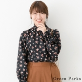 ❖ Hot item ❖ 滿版花束印花小高領襯衫上衣 - Green Parks