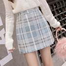 VK精品服飾 韓系時尚毛呢格子半身裙顯瘦短版單品短裙