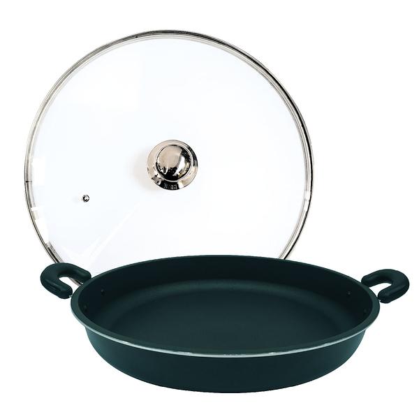 派樂嚴選 遠紅外線料理盤超大煎烤盤40cm含玻璃鍋蓋 烤肉盤 炒鍋 煎鍋 中秋烤肉