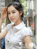 新款修身百搭泡泡袖娃娃領職業裝白襯衫女短袖打底白襯衣