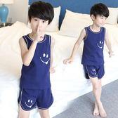 睡衣 兒童睡衣男童家居服夏季中大童短袖純棉薄款空調服小男孩背心套裝 怦然心動