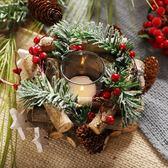 聖誕狂歡 圣誕燭臺花環圣誕節花環燭臺場景布置擺件圣誕裝飾品 维多原创 免運