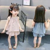 女童夏裝洋氣小童0嬰兒衣服兩件套1-3歲露肩女寶寶套裝潮 道禾生活館