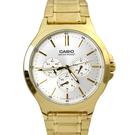 CASIO手錶 金色銀面三眼鋼錶NECE17