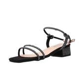 涼鞋女夏季2019新款一字帶水鉆高跟鞋粗跟網紅百搭方頭仙女女鞋潮