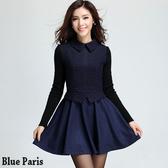 藍色巴黎 ★氣質針織拼接毛呢長袖連身裙 短洋裝【28243】