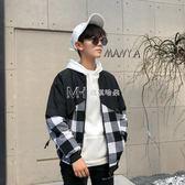 夹克  格子外套男潮韓版帥氣衣服男士bf風棒球服外套  瑪奇哈朵