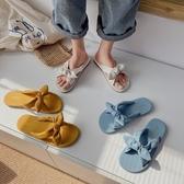 夏季新款蝴蝶結涼拖鞋網紅蝴蝶結百搭時尚潮休閒女鞋 - 風尚3C