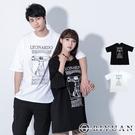 韓國製【OBIYUAN】短袖t恤 上衣 情侶 The Vitruvian man 寬鬆 落肩衣服 2色 【F10013】