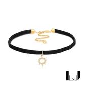 Little Joys 黑絲絨小太陽鋯石頸鍊 925銀鍍金 旅美原創設計品牌