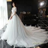 婚紗禮服2019新款拖尾顯瘦大碼孕婦公主夢幻新娘一字肩出門紗森系MBS「「時尚彩虹屋」
