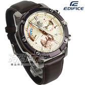 EDIFICE EFR-559BL-7A 粗曠螺絲復古計時男錶 真皮錶帶 咖啡x玫瑰金 EFR-559BL-7AVUDF CASIO卡西歐