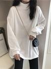 秋冬季高領2021新款寬鬆加厚加絨上衣長袖白色T恤打底衫內搭女裝 貝芙莉