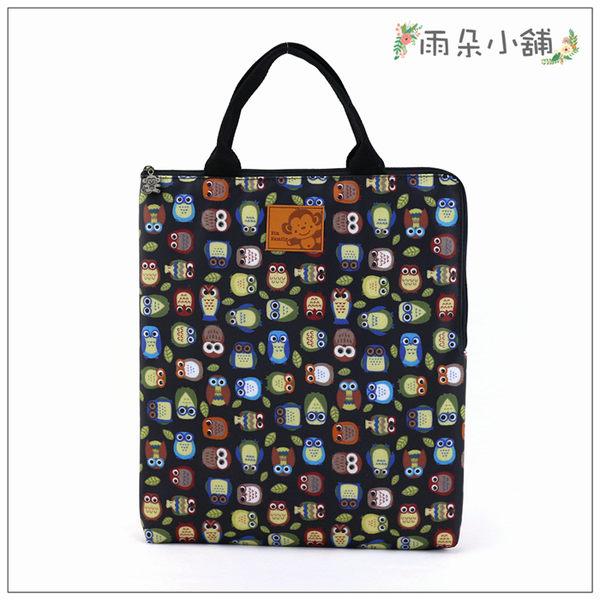 電腦包 包包 防水包 雨朵小舖M287-345 13吋筆電包(直式)-黑綠葉貓頭鷹14203 funbaobao