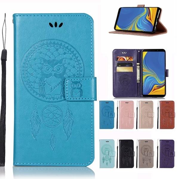 三星 A9 A7 2018 A8 A8+ 手機皮套 貓頭鷹風鈴 插卡 支架 磁扣 可掛繩 防摔 內軟殼 壓紋皮套 手機殼