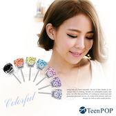 925純銀耳環 ATeenPOP 抗過敏 晶鑽 5mm 多色任選 女生耳環 男生耳環