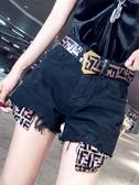 高腰韓版chic純色闊腿牛仔短褲新款個性口袋毛邊修身熱褲送腰帶