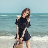 水母衣 2021新品女裙式連體遮肚保守黑色顯瘦修身小胸聚攏溫泉大碼游泳衣 交換禮物