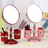 化妝鏡歐式儲物盒鏡子 台式 雙面梳妝鏡 3倍放大便攜結婚公主台鏡高清鏡面雙面功能熱賣夯款